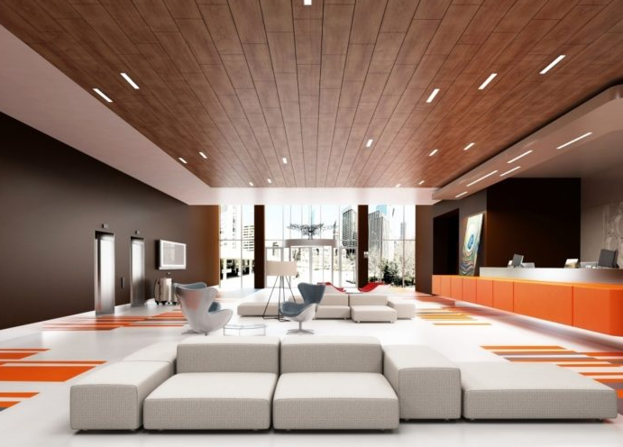 офисный вариант потолка из дерева